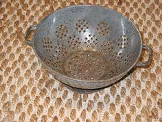 Vintage Antique Rustic Primitive Grey Enamel Graniteware Colander Strainer Old