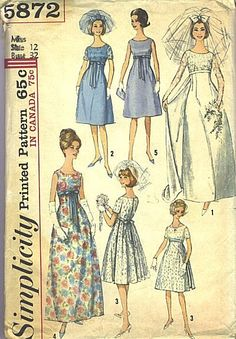 60s dresses - the empire style, i think i had this pattern for an 8th grade party!!