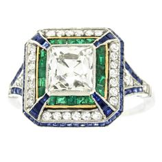 1920s 2.0 Carat Art Deco Sapphire Emerald Diamond Platinum Ring | From a unique collection of vintage fashion rings at https://www.1stdibs.com/jewelry/rings/fashion-rings/