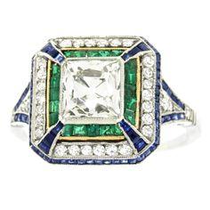 1920s 2.0 Carat Art Deco Sapphire Emerald Diamond Platinum Ring