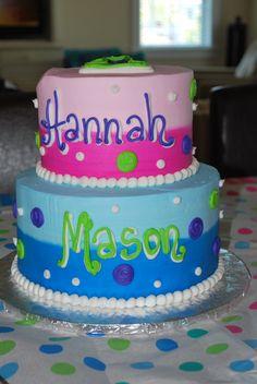 boy girl twins first birthday cake - Google Search