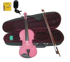 3//4 New Acoustic Violin Case Bow Rosin Pink Hot
