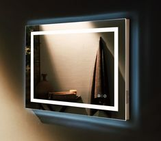 29 best Ideas for bathroom mirror square powder rooms White Vanity Mirror, Long Mirror, Backlit Mirror, Mirror With Led Lights, Bathroom Box, Illuminated Mirrors, Bathroom Lighting, Bluetooth, Bathrooms