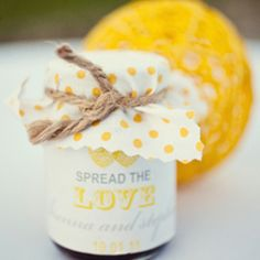 "Petit jams with ""Spread the Love"" labels as wedding favors."
