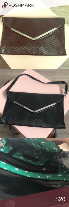 KATE LAUDRY black clutch/purse Can be a clutch or a purse with detachable shoulder strap. Never used. Excellent condition. Adorable green and white pattern inside. Kate Landry Bags Clutches & Wristlets
