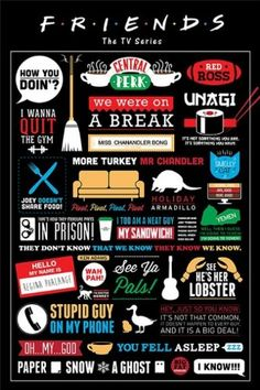 """Amazon.com - Friends - TV Show Poster / Print (Infographic - Facts, Logos  Quotes) (Size: 24"""" x 36"""") (Poster  Poster Strip Set) -"""