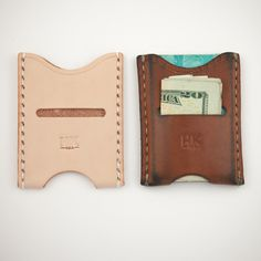 """Hand Knife slim wallet. Made in USA. Constructed with Natural Vegetable Tanned leather and stitched with heavy bonded nylon thread. Edges are waxed and burnished by hand. Fits about 5 cards and some cash in the beginning and then more after it breaks in. 2 3/4"""" x 3 5/8"""""""