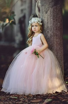 Cute Pink Long Ball Gown Flower Girl's Dresses