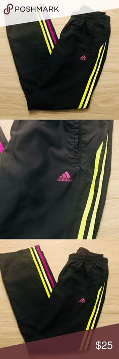 """Classic Adidas Pink Yellow Striped Sweatpants Classic Adidas Sweatpants, great condition, perfect for a morning run or a day at the gym.   Inseam/Length: 31"""" adidas Pants Track Pants & Joggers"""