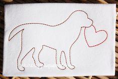 Vintage Valentine Dog Embroidery Design