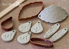 Make your own clay cutters!…a wonderful tutorial I saw this and thought of all you would be Metal Clay artists.here is a wonderful tutorial by Carol Dekle. Its got to be cheaper than buying pre-made cutters as well as the added bonus that your . Metal Clay Jewelry, Ceramic Jewelry, Ceramic Clay, Ceramic Beads, Jewelry Art, Ceramic Tools, Jewellery Bracelets, Silver Jewellery, Polymer Clay Tools