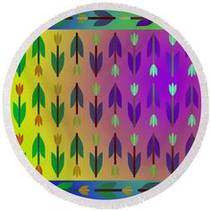 Purple yellow blue green floral pattern Round Beach Towel by Lenka Rottova. The beach towel is in diameter and made from polyester fabric. Purple Yellow, Blue Green, Beach Towel Bag, Towels, Outdoor Blanket, Technology, Tableware, Floral, Fabric