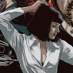 Uma Thurman as Mia Wallace is Louise Brooks cartoon comic art Arte Do Pulp Fiction, Uma Thurman Pulp Fiction, Mia Wallace, Tarantino Films, Quentin Tarantino, Anime Comics, Bd Pop Art, Arte Country, Arte Pop
