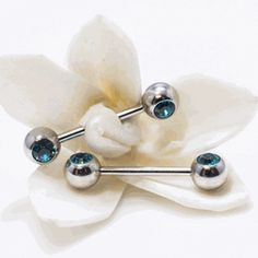 7c15ed98a1e144 Barbell Nipple Ring Surgical Steel with Turquoise Jewels (6mm). Nipple  RingsBarbellBody ...