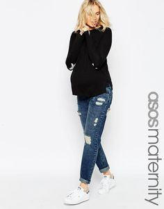 ASOS Maternity | ASOS Maternity Brady Boyfriend Jeans With Under The Bump Waistband at ASOS