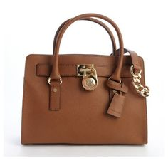 MICHAEL Michael Kors Camel brown leather 'Hamilton' logo lock clasp... (€190) ❤ liked on Polyvore featuring bags, handbags, purses, bolsas, michael kors, camel brown, michael michael kors handbags, top handle bag, brown handbags and man bag
