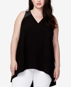 Rachel Rachel Roy Trendy Plus Size Crisscross-Strap Tunic - Black 2X