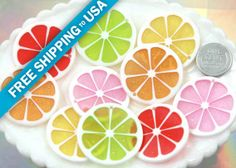 35mm Colorful Citrus Fruit Resin Charms  5 pc set by delishbeads, $3.95