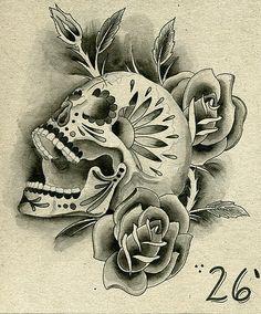 sugar skulls tattoos for guys | Sugar Skull design of Sleeve Tattoo and Roses.