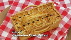 Ruby's Vegetarian Picnic Pie ~ realistic-looking woven pastry picnic basket filled with roasted vegetables, two types of cheese, and richly flavoured couscous ~ GBBO s4 finale recipe baked by contestant Ruby Tandoh | via The Happy Foodie