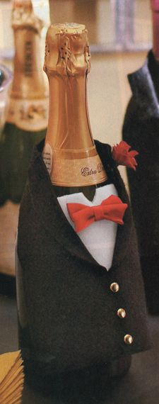 Tuxedo on the wine bottle...probably too time consuming but cute! Put this on white wine...put red dress on red...
