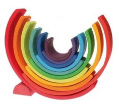Kids Wooden Toys Grimms Stacking Rainbow Large2