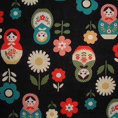 KOKKA Japanese Import Fabric - Russian Dolls in Brown - Matryoshka Dolls - 1 Yard Cut - Kids Fabric - Girls Fabric Textile Patterns, Print Patterns, Textiles, World Thinking Day, Japanese Imports, Patchwork Fabric, Matryoshka Doll, Japanese Fabric, Cute Pattern