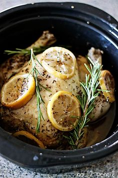 A simple and delicious recipe for Slow Cooker Lemon Garlic Chicken.
