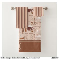 Coffee Images Stripe Pattern Monogram Bath Towel Set