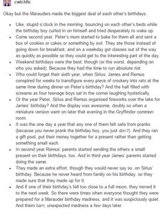 the marauders and birthdays