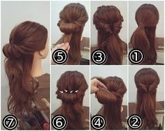 half up Gibson tuck – Haar Tutorials Braided Hairstyles Tutorials, Fancy Hairstyles, Wedding Hairstyles, Casual Hairstyles, Business Hairstyles, Bob Hair, Hair Dos, Gibson Tuck, Pelo Retro