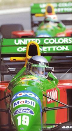 Alessandro Nannini and Nelson Piquet in Bennetton-Fords at the 1990 Monaco Grand Prix.
