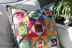 Echino and Melody Miller mod patchwork pillow (via Film in the Fridge blog)