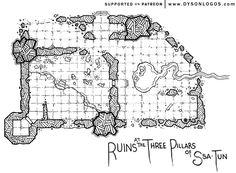 Ruins at the Three Pillars of Ssa-Tun | Dyson's Dodecahedron
