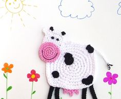 Crochet Cow Coaster Pattern Cow Applique por MonikaDesign en Etsy