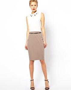 Image 1 ofASOS Belted Pencil Skirt