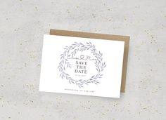Save the Date Wedding Card, leaf crown, Modern, printable, Download, Aquarell