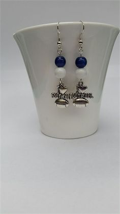 Football Earrings Football Jewellery Colours Navy Blue & White like The Blues