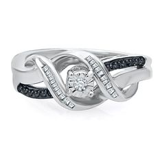 1/5 ct. tw. Black & White Diamond Promise Twist Ring in Sterling Silver