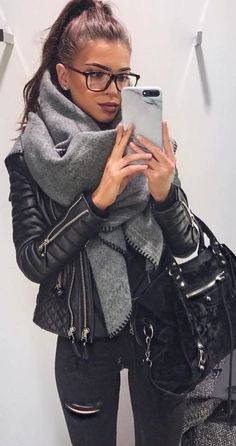 Leather jackets are perfect for winter date night outfits!