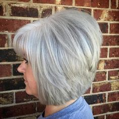 Stacked Hairstyles, Bob Hairstyles With Bangs, Bob Haircut With Bangs, Bob Haircuts, Gray Hairstyles, Woman Hairstyles, Black Hairstyle, Modern Hairstyles, Grey Hair With Bangs
