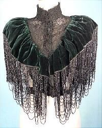 c. 1890's  WORTH, Paris  Bottle Green Velvet Beade Capelet