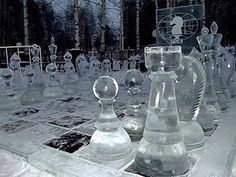 Life size, ice chess pieces. I can't even imagine the time it would take to create these.