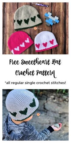 Crochet this heart hat for your littles this Valentine's Day! Simply made with normal single crochet stitches it's great for beginners! crochet heart hat, how to crochet, easy hat crochet pattern, free croch Crochet Kids Hats, Free Crochet, Knitted Baby Hats, Easy Crochet Baby Hat, Crochet Beanie Pattern, Crochet Patterns, Hat Patterns, Change Colors In Crochet, Color Change