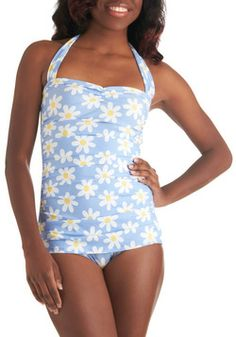 Bathing Beauty One Piece in Daisy. This item was picked by you in our Be the Buyer Program and will be sold exclusively online at ModCloth! #blue #modcloth