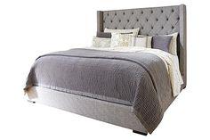 Bett master bedroom  Gray Sorinella King Upholstered Bed View 2
