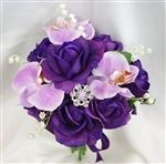 Natural Touch Purple Roses & Orchids Bouquet