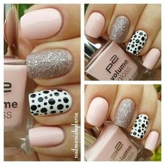 Nails. Pink. Black. White. Silver. Glitter. Spots
