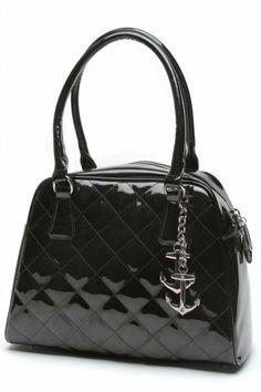 Black Shiny Bon Voyage Tote Bag by Lux de Ville   Bags
