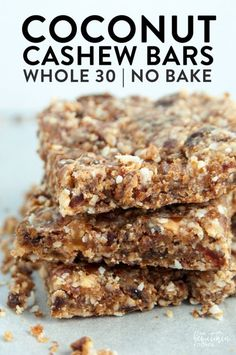 These Coconut Cashew Bars are a new snack favorite. I made these with my Vitamix and they were so easy! Dates, coconut, and cashews blended together make a Larabar copycat recipe that's paleo and a healthy snack. paleo dessert with dates Whole 30 Dessert, Whole 30 Snacks, Whole 30 Breakfast, Paleo Breakfast Bars, Whole30 Breakfast Ideas, Breakfast Skillet, Breakfast Cake, Breakfast Recipes, Paleo Recipes